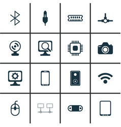 Set of 16 computer hardware icons includes radio vector