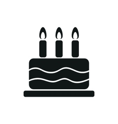 Simple black one cake icon on white background vector