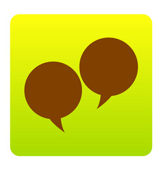 Speech bubble sign brown icon at green vector
