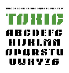 stencil-plate sanserif font in military style vector image vector image