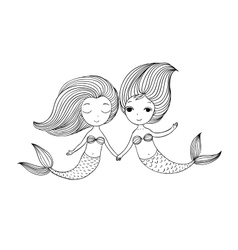 Two little cartoon mermaid siren vector