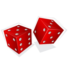 Two red dices vector image vector image