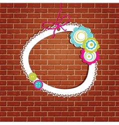 Vintage frame on the brick wall background vector image vector image