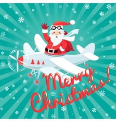 Waving santa claus flying on the plane with sack vector