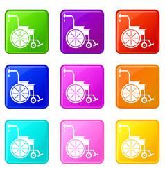 Wheelchair icons 9 set vector