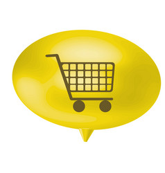 Yellow bubble shopping car icon vector