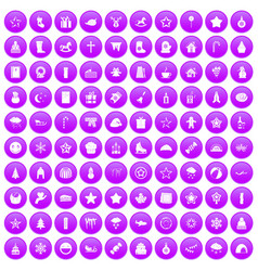 100 christmas icons set purple vector