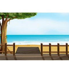 A wooden bench on a beach vector