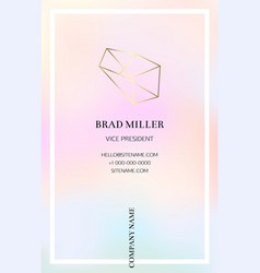 Vaporwave business card with a gold crystal logo vector