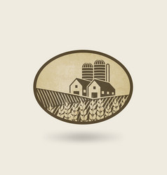 oval label with the landscape farm in field vector image