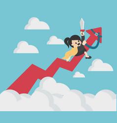 Business woman riding success arrow graph up to vector