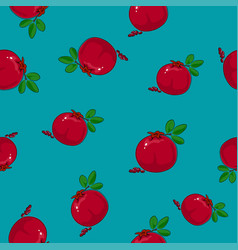 Seamless pattern pomegranate on azure background vector