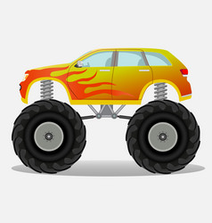Monster car with flame sticker on the side truck vector