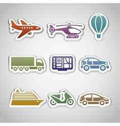 flat retro color stickers - set ten vector image