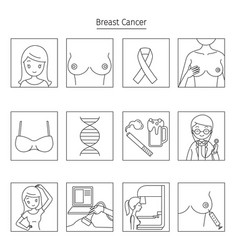 Breast cancer outline icons set vector