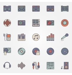 Colorful dj icons set vector