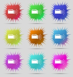 Flashlight icon sign nine original needle buttons vector