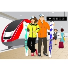 Happy couple skiers standing at the train station vector
