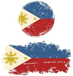 Philippines round and square grunge flags vector