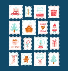 Winter holidays decorative post stamps set vector