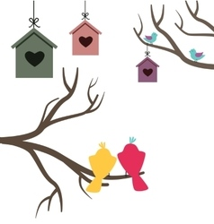 Card with nesting boxes and birds vector