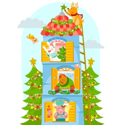 animals enjoying Christmas vector image