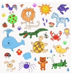 Childrens drawing doodle animals trees vector