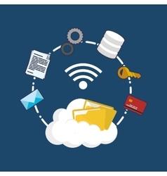 Cloud computing web hosting design vector