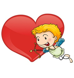 Cupid and heart vector image vector image