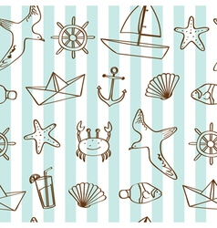 Cute nautical background vector image vector image