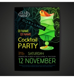 Disco cocktail party poster3d cocktail design vector