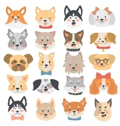 Dogs heads emoticons set vector