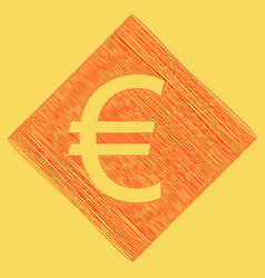Euro sign red scribble icon obtained as a vector