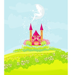 fairy flying above castle vector image vector image
