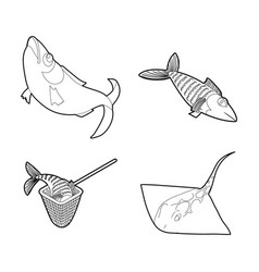 fish icon set outline style vector image