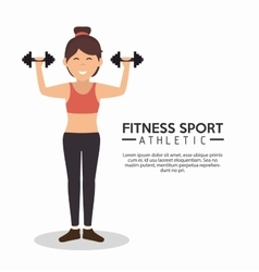 Fitness sport athletic girl holds dumbbells vector