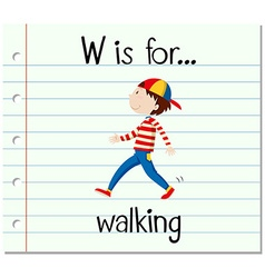Flashcard alphabet w is for walking vector