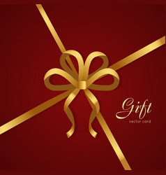 Gift golden narrow ribbon bow with four petals vector