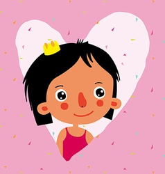 Girl princess greeting card vector