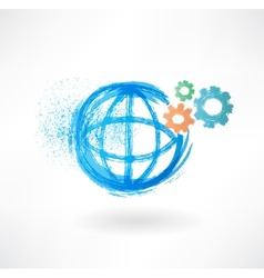 Globe mechanism grunge icon vector image vector image