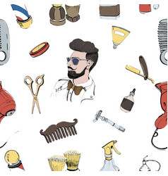 Hand drawn barbershop seamless with accessories vector