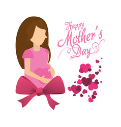 Happy mothers day card invitation pregnancy bow vector