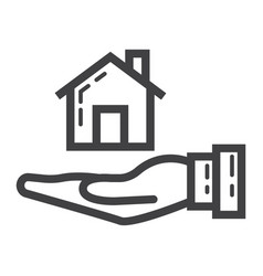 Home in hand line icon business and finance buy vector