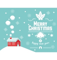 House and snowflakes of Christmas design vector image