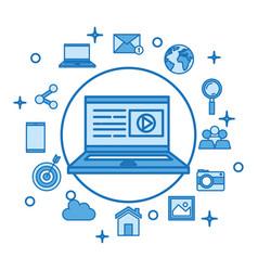Laptop computer screen play video button vector