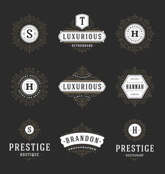 Luxury logos templates set flourishes vector