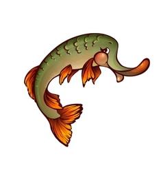 Pike in cartoon style vector