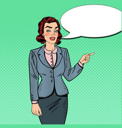 Pop art businesswoman pointing on copy space vector