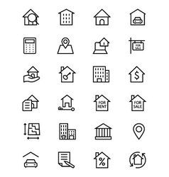 Real Estate Line Icons 1 vector image vector image