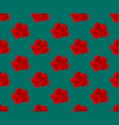 Red carnation seamless on green teal background vector